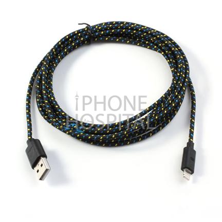 Lightning auf USB Kabel 3m Schwarz Geflochten für iPhone 5 / 5C / 5S / 6 / 6 Plus