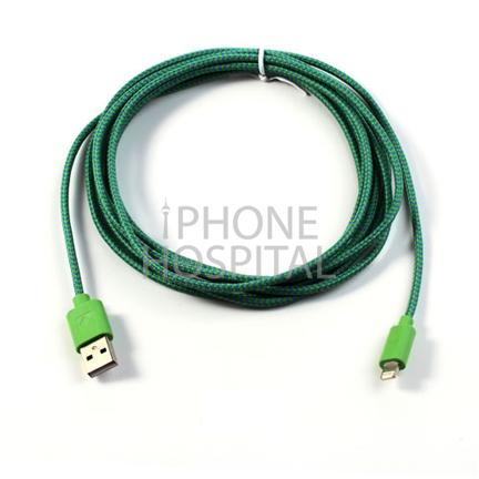 Lightning auf USB Kabel 3m Dunkelgrün Geflochten für iPad 4 / 5 / 6 / iPad mini 1 / 2 / 3