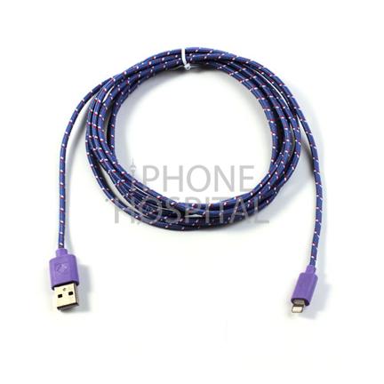 Lightning auf USB Kabel 3m Lila/Violett Geflochten für iPad 4 / 5 / 6 / iPad mini 1 / 2 / 3