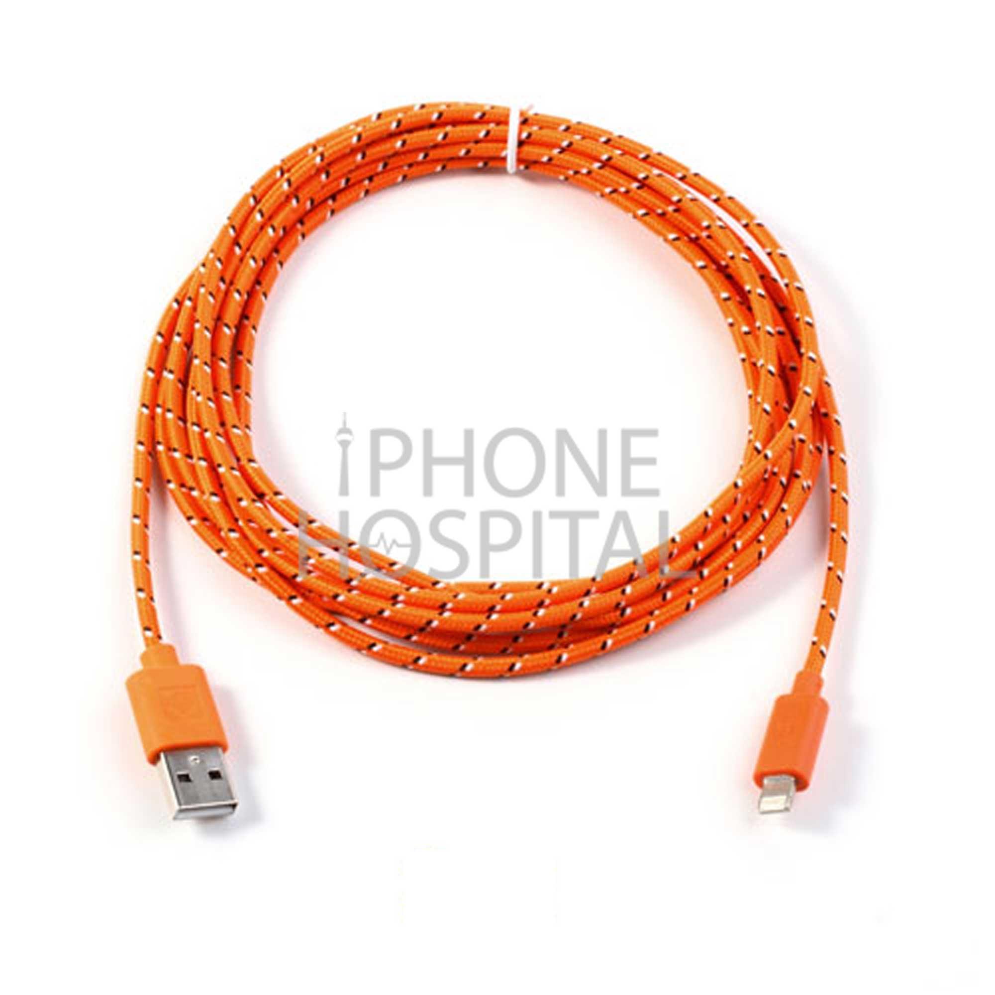 Lightning auf USB Kabel 3m Orange Geflochten für iPad 4 / 5 / 6 / iPad mini 1 / 2 / 3